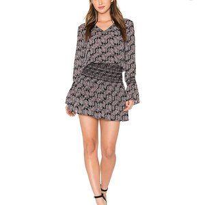 Derek Lam 10 Crosby Smocked Long Sleeve Silk Dress